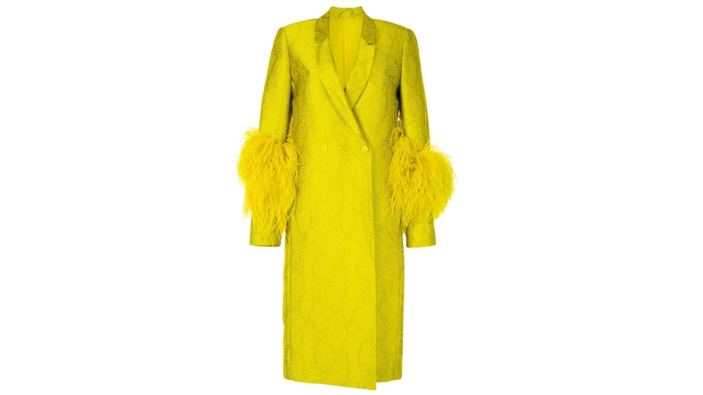 LAPOINTE feather-trimmed snakeskin print coat