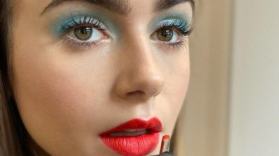 Lily Collins Red Lipstick Blue Eyeshadow
