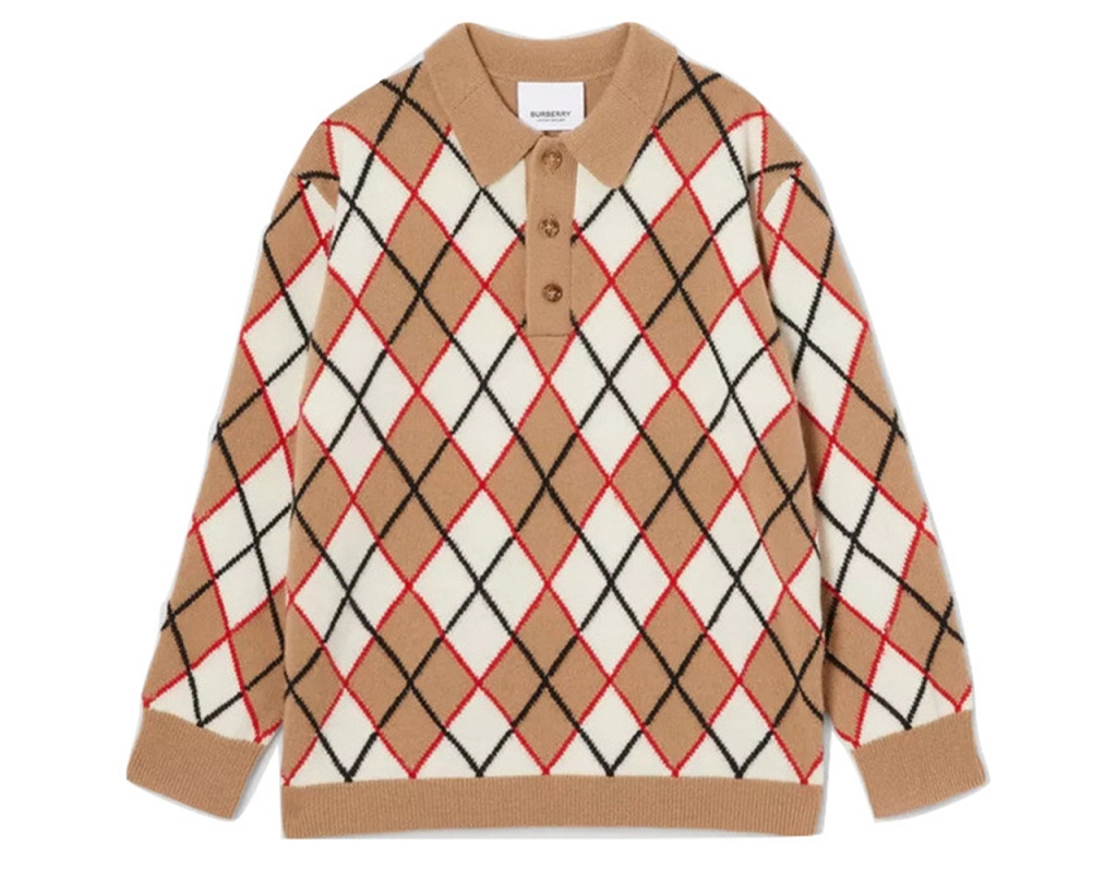 Burberry Long-sleeve Argyle Intarsia Wool Cashmere Polo Shirt