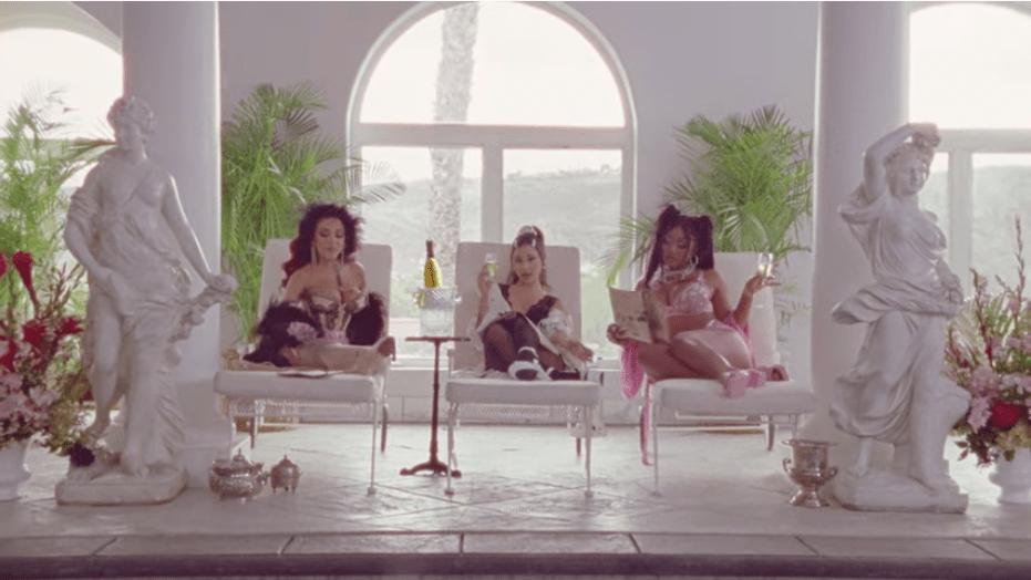 "Doja Cat, Ariana Grande, Megan Thee Stallion in the ""34+35"" Remix music video"
