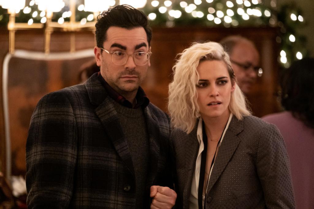 Daniel Levy and Kristen Stewart in 2020's <i>Happiest Season</i>