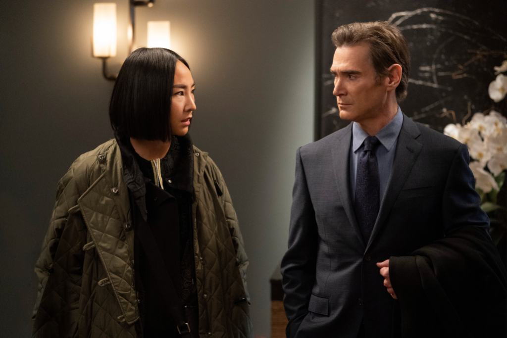 Greta Lee and Billy Crudup in <i>The Morning Show</i>