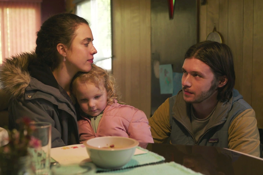 Nick Robinson (right) with Margaret Qualley and Rylea Nevaeh Whittet in <i>Maid</i>