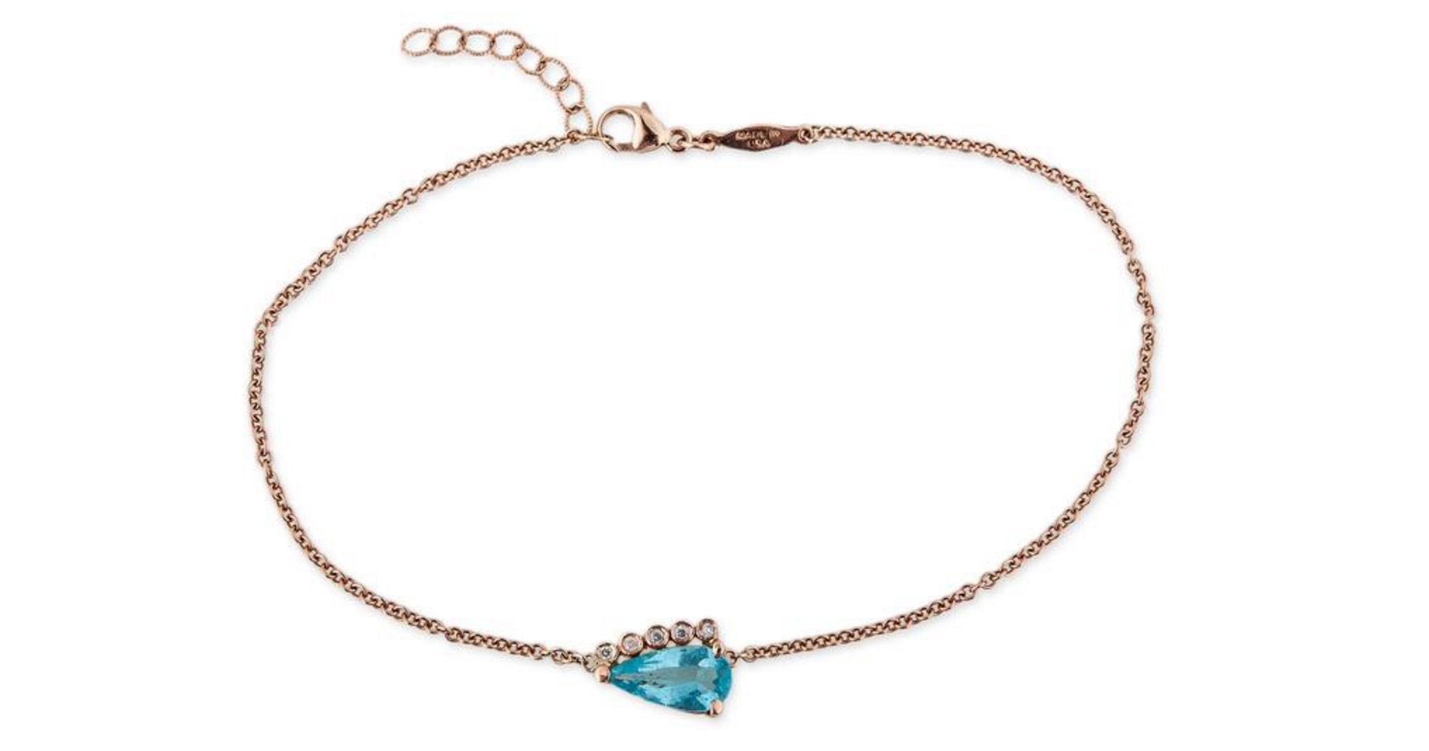 resize JA 5 diamond blue topaz teardrop anklet 1715