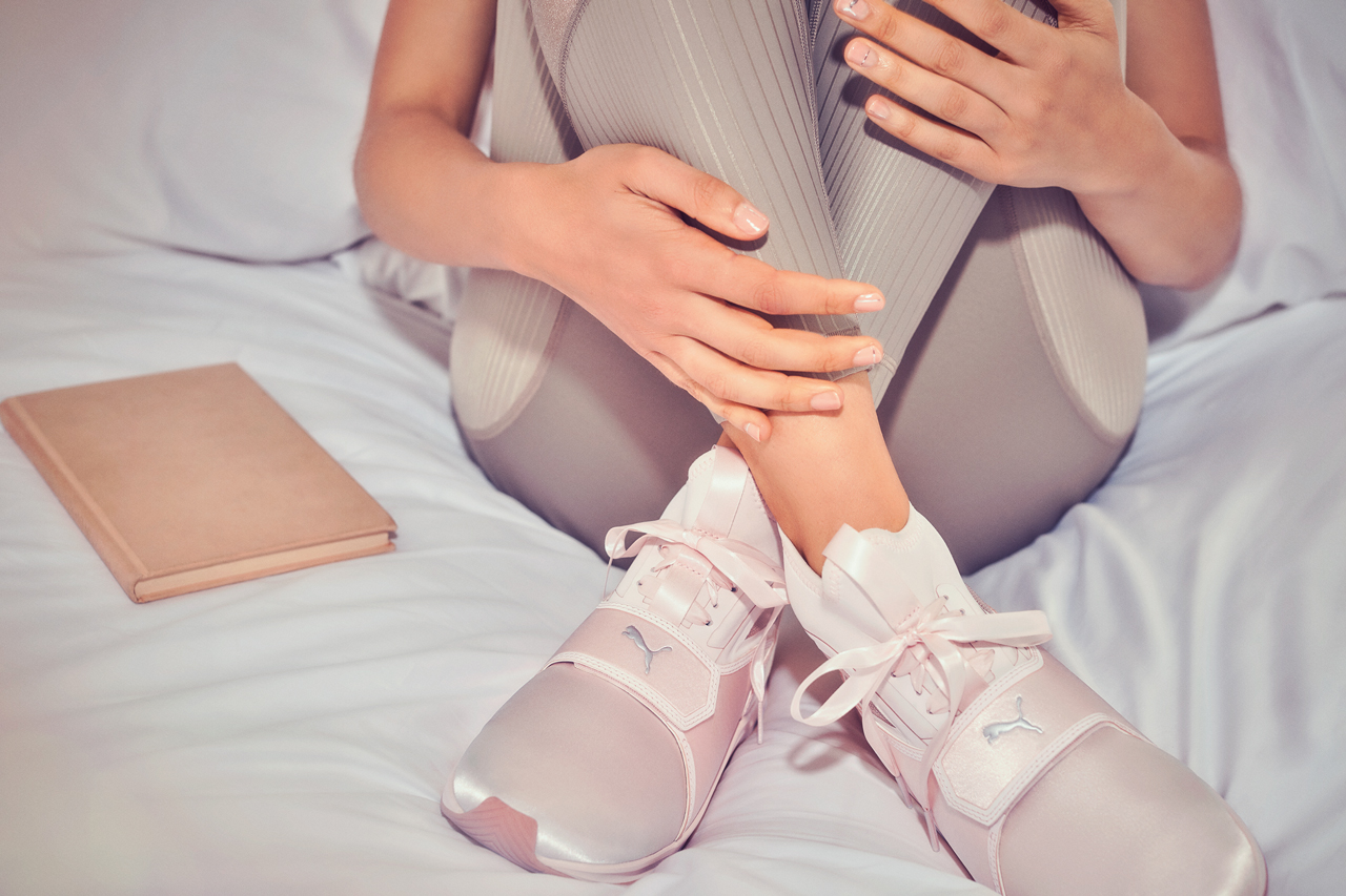 Selena Gomez models new PUMA En Pointe satin fierce trainers