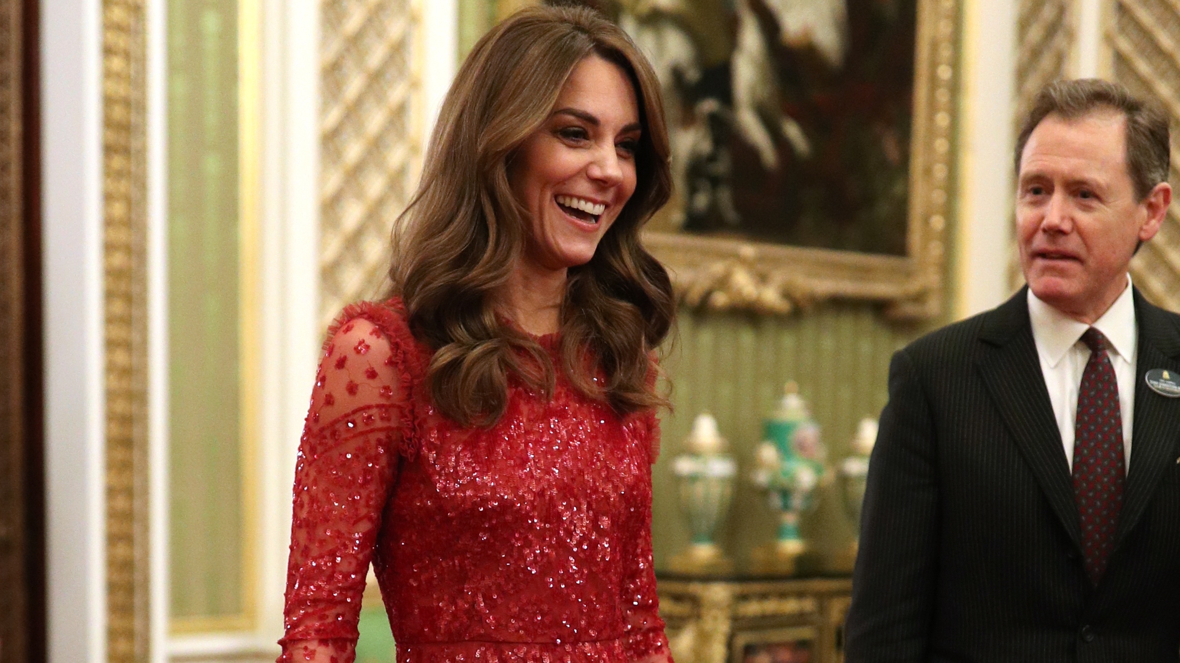 Kate Middleton Wears Red Sequin Dress To Buckingham Palace