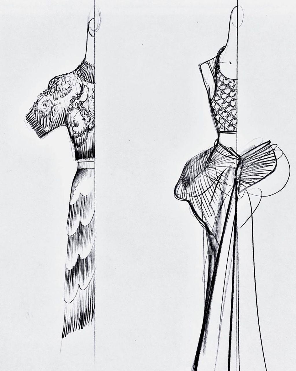 Sketches by Daniel Roseberry for Schiaparelli