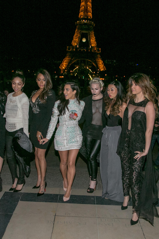Kim kardashian bachelorette party dress balmain paris