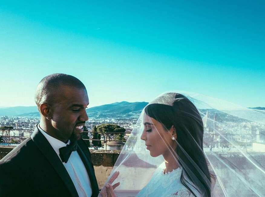 Kim kardashian Kanye West wedding day