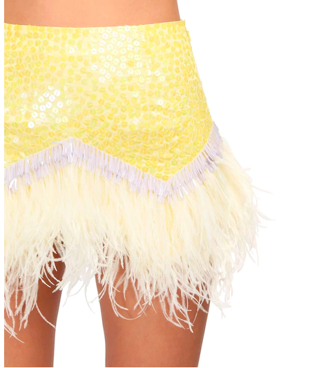 The Attico sequinned mini skirt with ostrich feathers