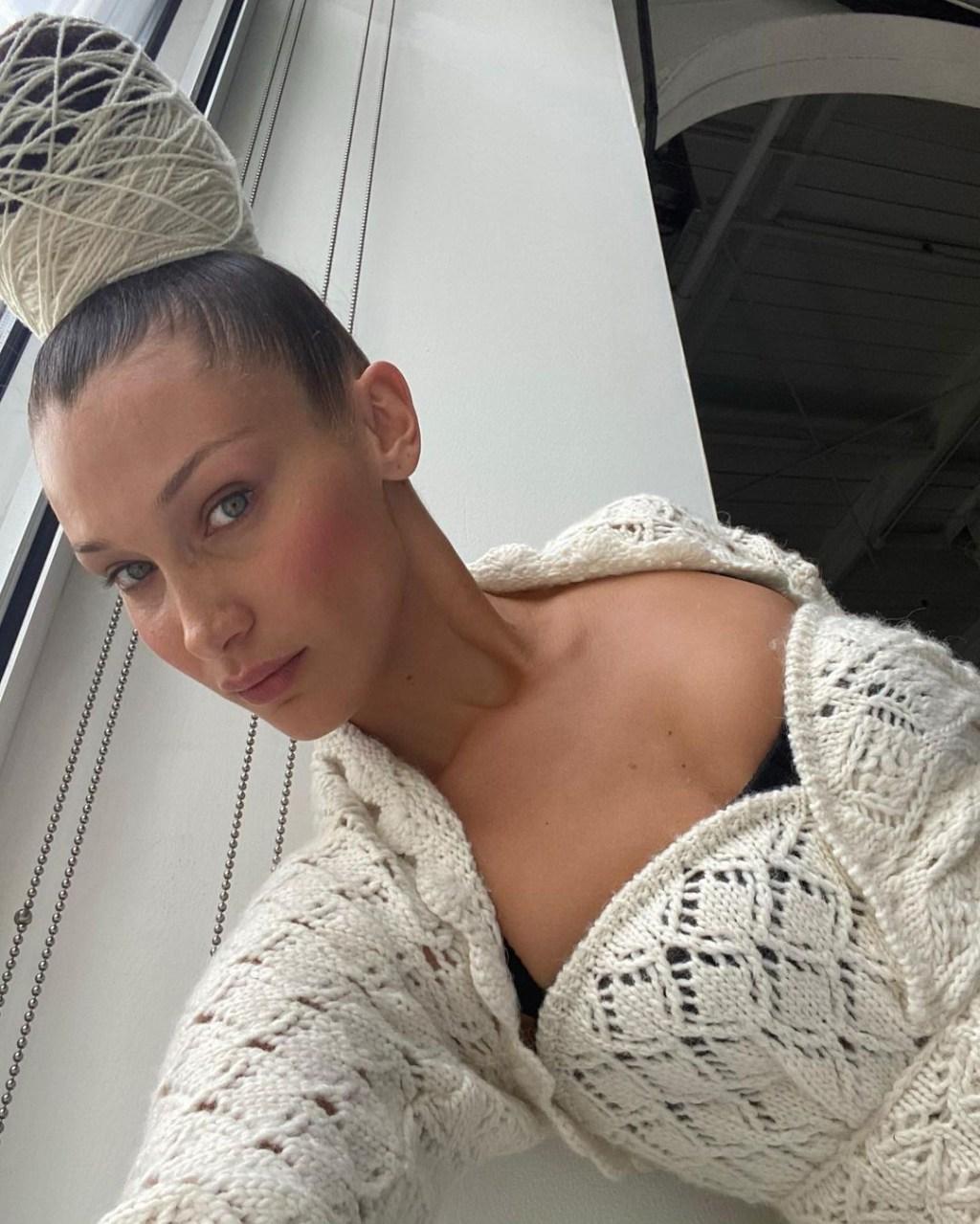 bella hadid yarn hair
