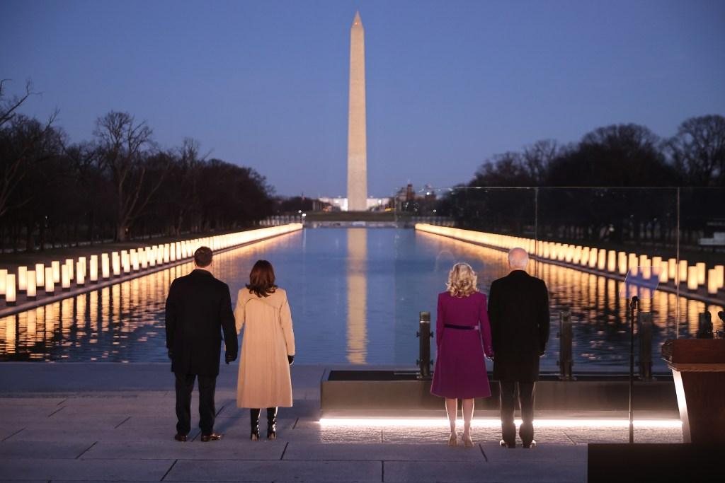 Jill Biden Kamala Harris inauguration eve covid memorial
