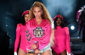 Beyoncé during her Coachella Homecoming Performance
